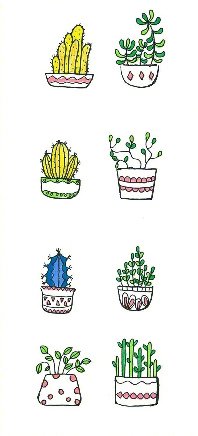 一波非常萌小盆栽手绘简笔画,可爱又简单的!_新浪看点