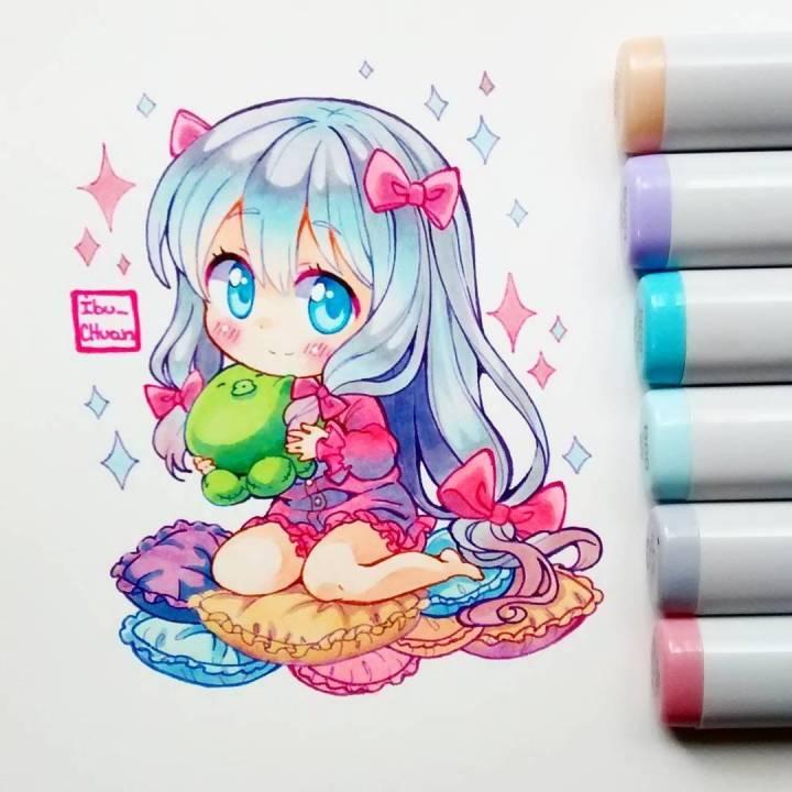 马克笔手绘动漫少女 | ins:ibu_chuan
