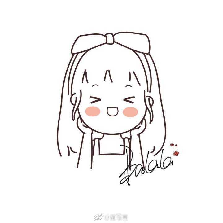 敲可爱的简笔画小女孩 by 巴辣辣