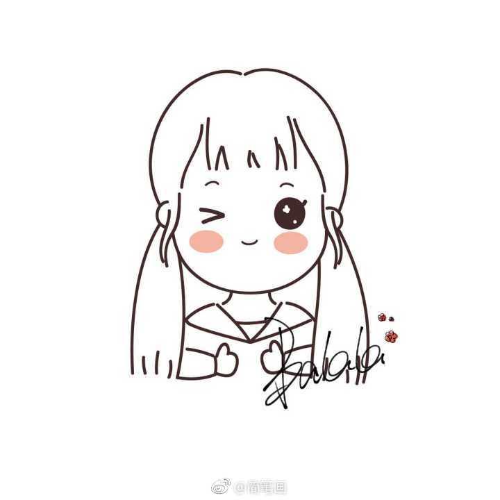 敲可爱的简笔画小女孩(by:@-巴辣辣- )