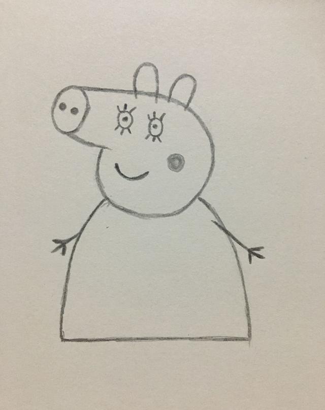 简笔画——小猪佩奇妈妈的画法