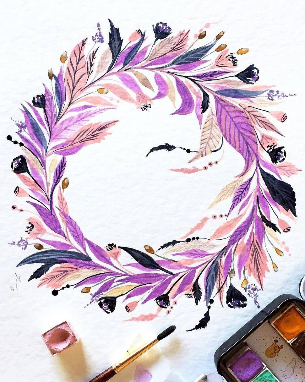 小清新手绘水彩花环,水彩练习好素材