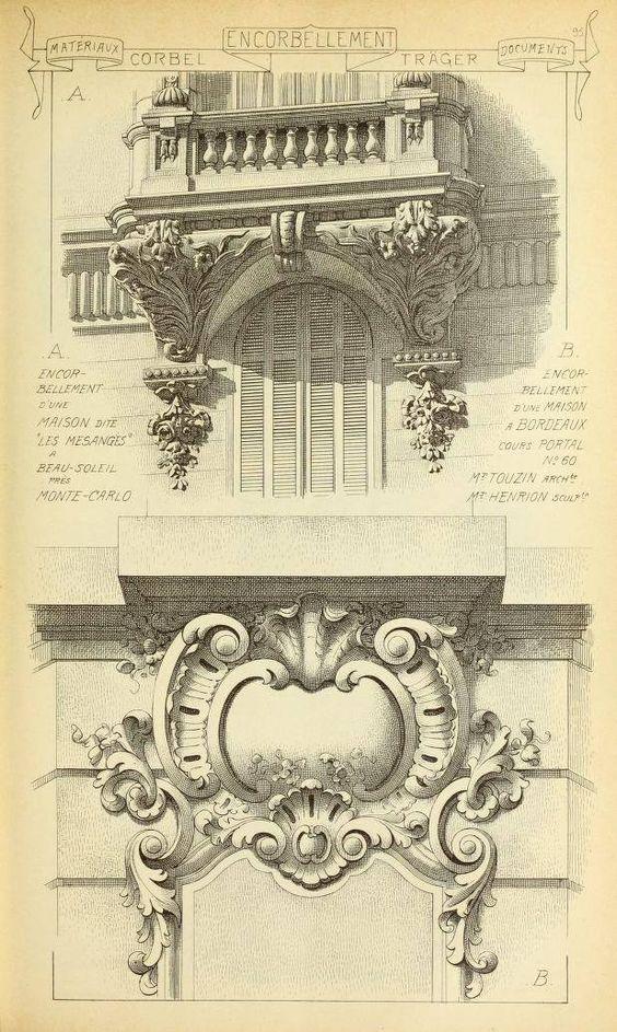 欧式建筑构件手绘