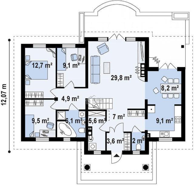 农村一层房屋设计图15米x12米建筑面积110平米单层别墅