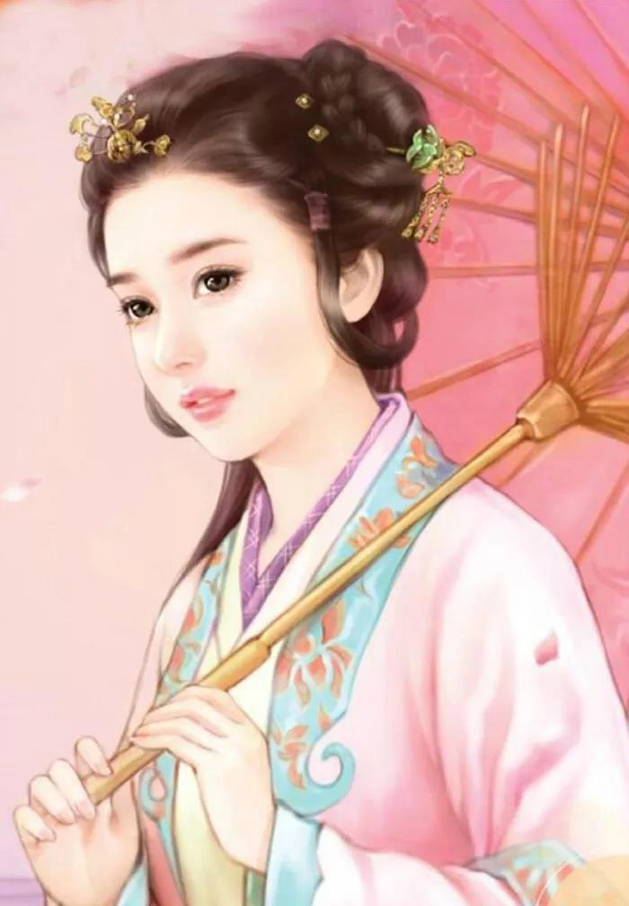 古装手绘美人图长发美女