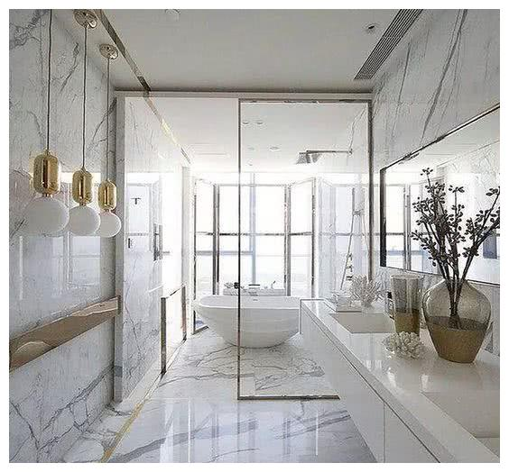 大户型卫生间浴室装修效果图,精致设计过目不忘,就差一个大房子