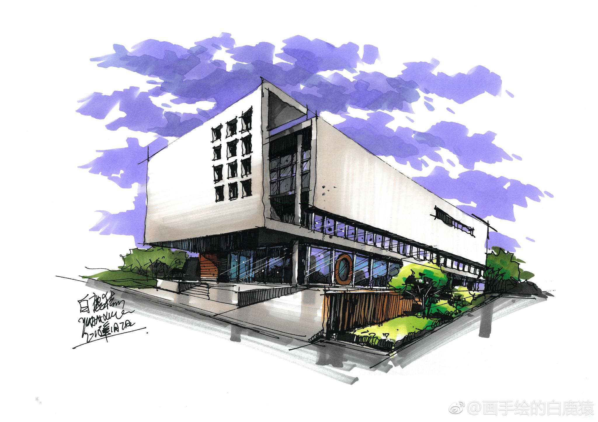 干货,干货,马克笔建筑手绘上色集合,欢迎喜欢的小伙伴