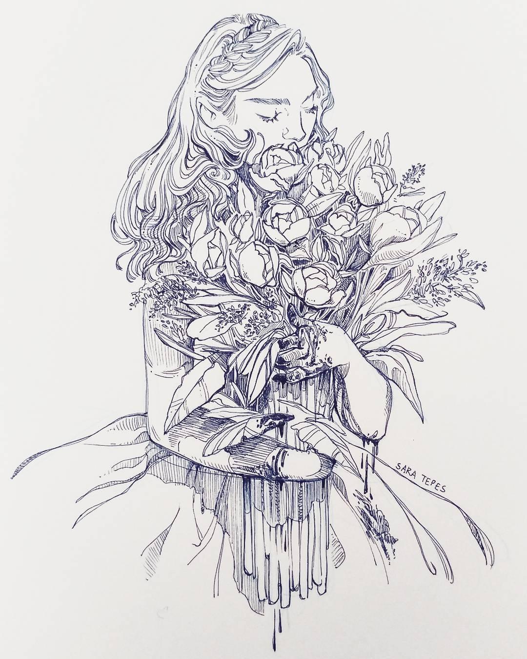 一组美女手绘插画,使用了自动铅笔,圆珠笔和钢笔~ |插画师