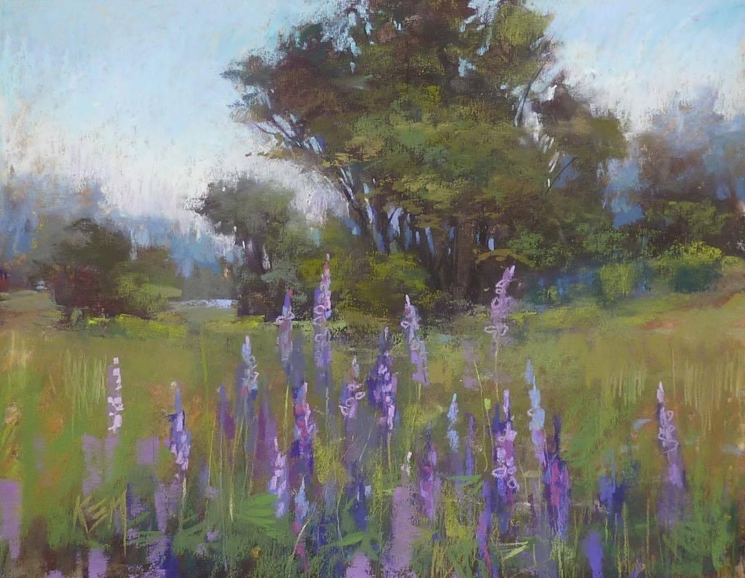 karen margulis 紫色系 油畫棒風景