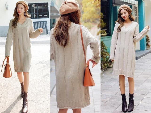 秋天穿V领连衣裙,就穿这几款,搭配对的鞋子就超美!