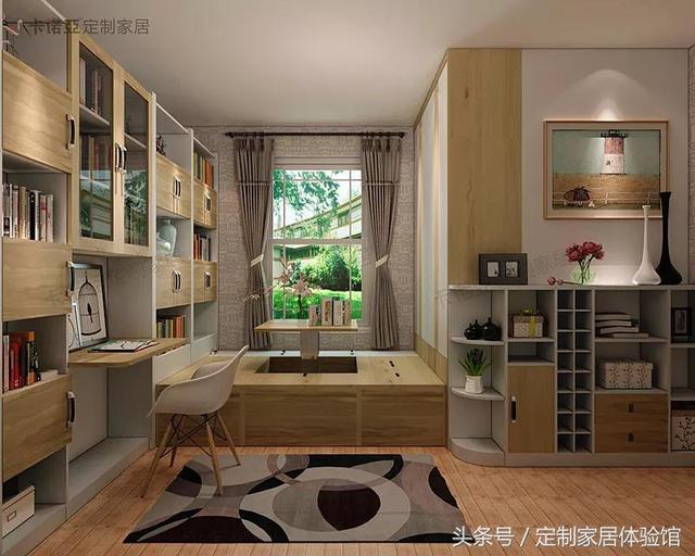 一体化书柜书桌与榻榻米相连设计,完善书房功能的同时,带来海量藏书