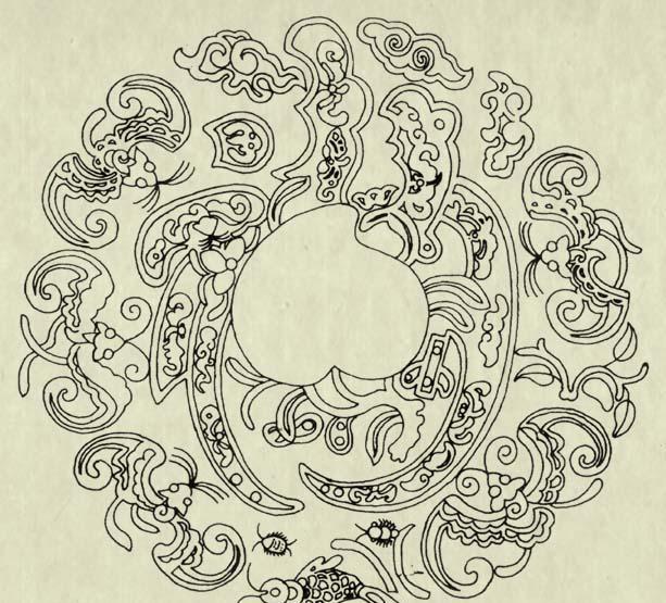 """以""""福""""为母题的吉祥图案:蝙蝠与铜钱在一起叫""""福在眼前""""图片"""