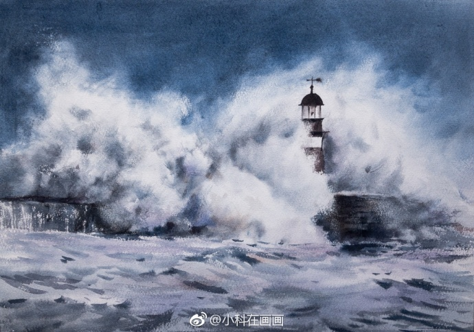 风急浪高盖灯塔,日常画作 作者