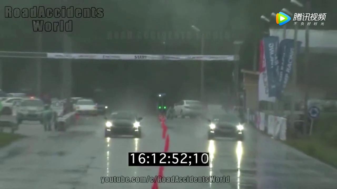 女司机玩儿直线加速,把一辆超跑撞报废