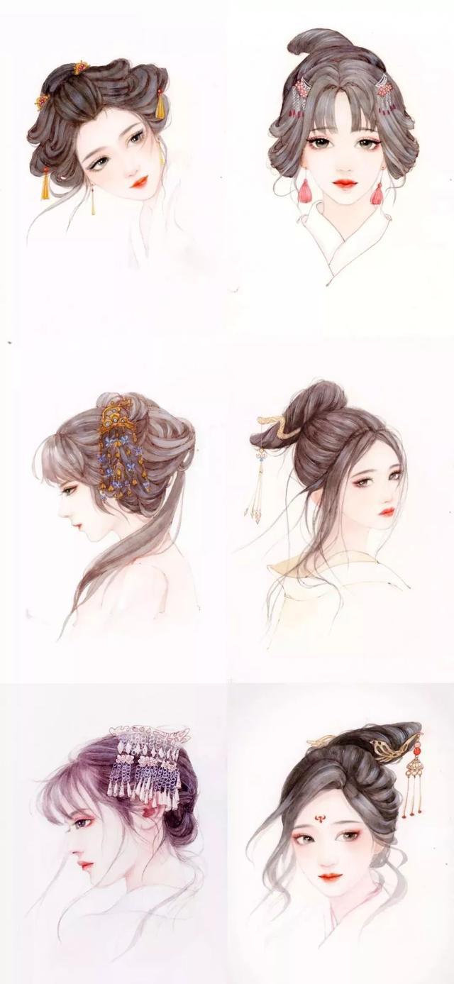 插画教程|古风发型怎么画?以及各种发型参考