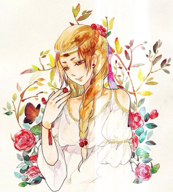 唯美手绘头像:明艳动人,千姿百态的美少女.