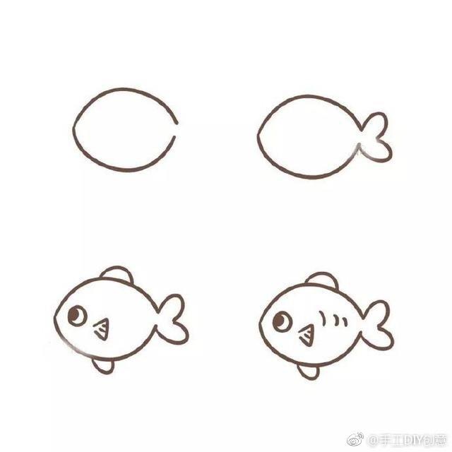 简单又好看的鱼怎么画,各种各样的鱼简笔画图片大全