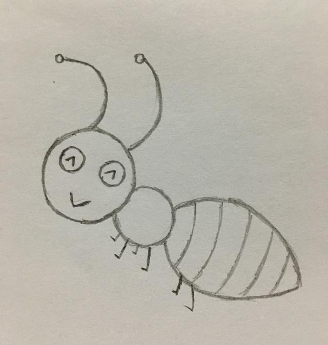 下面夏天妈妈要给大家分享的是小蚂蚁的画法,咱们一步一步来画吧