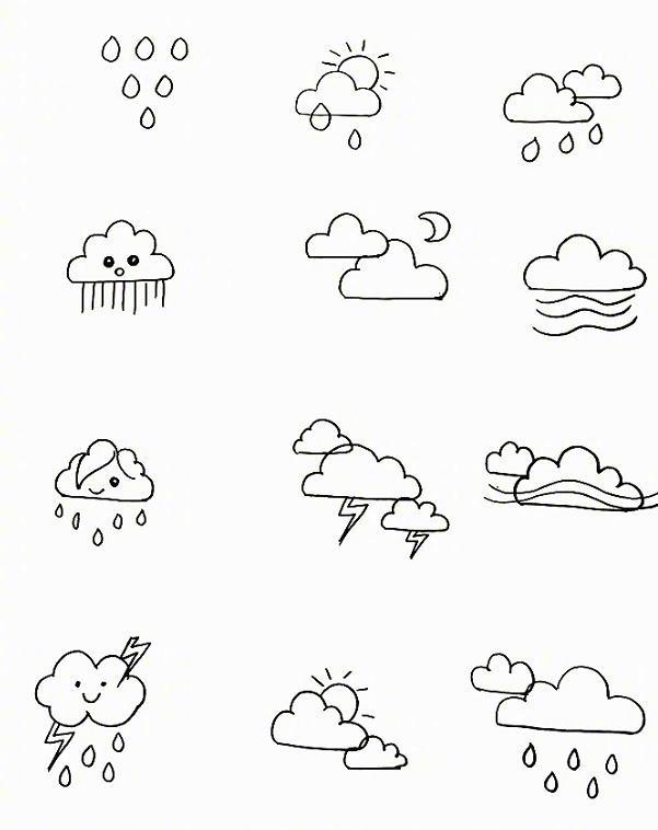 上百个天气小素材简笔画,很可爱很简单!做板报,手账,哄娃都很实用!