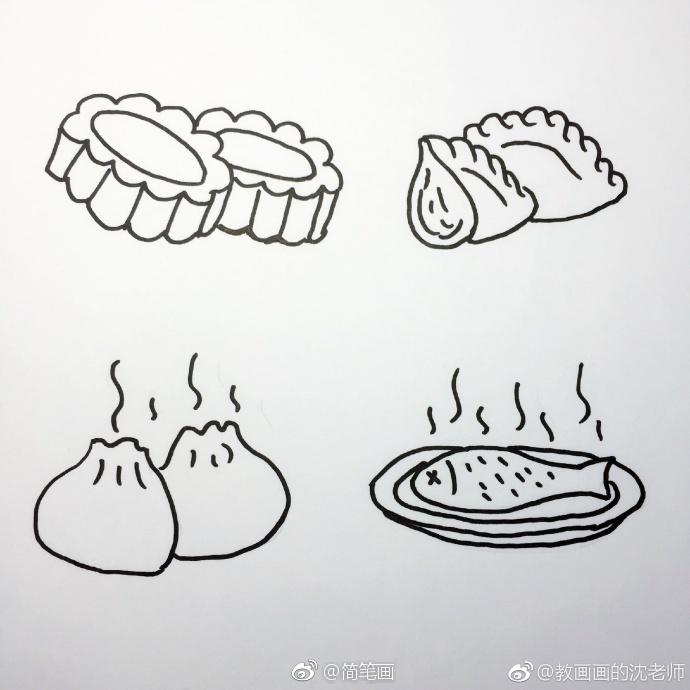 一组食物主题简笔画手绘素材(by:教画画的沈老师)