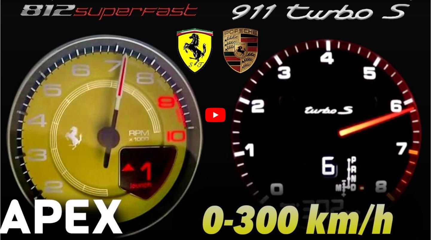 保时捷911 Turbo S与法拉利 812 Superfast的加速性...