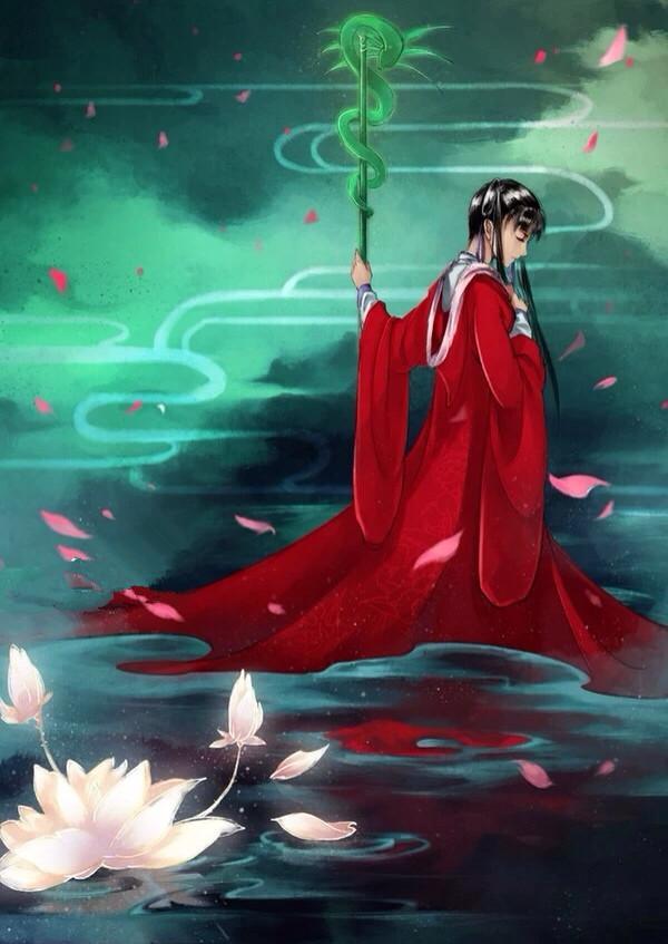 女巫少女手绘红色