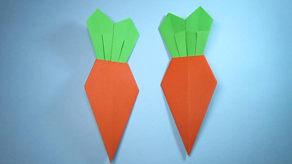 纸艺手工折纸胡萝卜,看一遍就能学会漂亮胡萝卜的折法