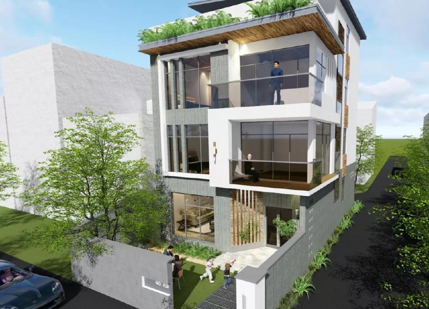 三层现代农村,阳光房别墅一个不少,谁说宅基地小就不?菜园方案课件ppt别墅图片