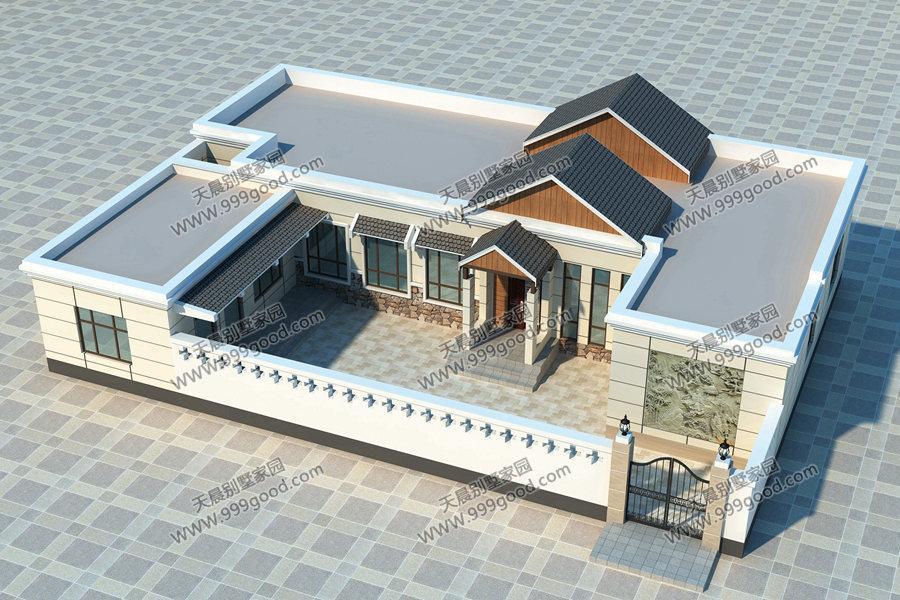 中式风格别墅设计图,带院子带车库,造价约16万左右,采用砖混结构.图片