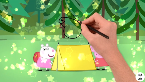 手绘简笔画小猪佩奇和小羊苏西参加学校露营