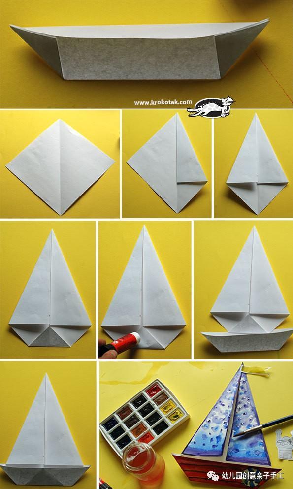 幼儿园亲子手工之折纸:帆船蘑菇郁金香等,很多孩子都喜欢!