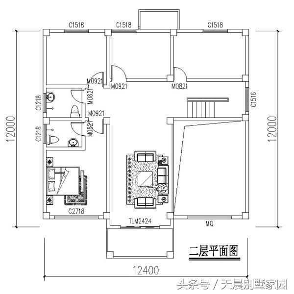 农村3层自建房12.4x12米,布局