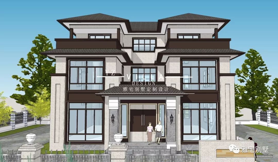 农村三层中式别墅,大露台,落地窗,即经济又美观!