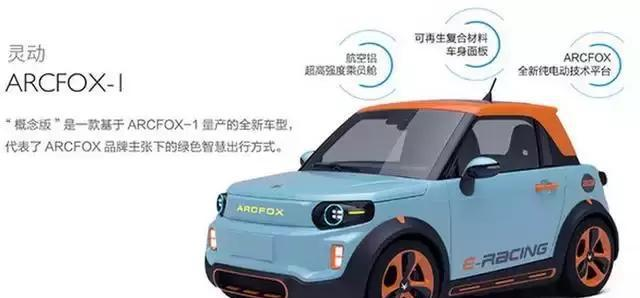 一款来自北汽的新能源车型——北汽ARCFOX-1。