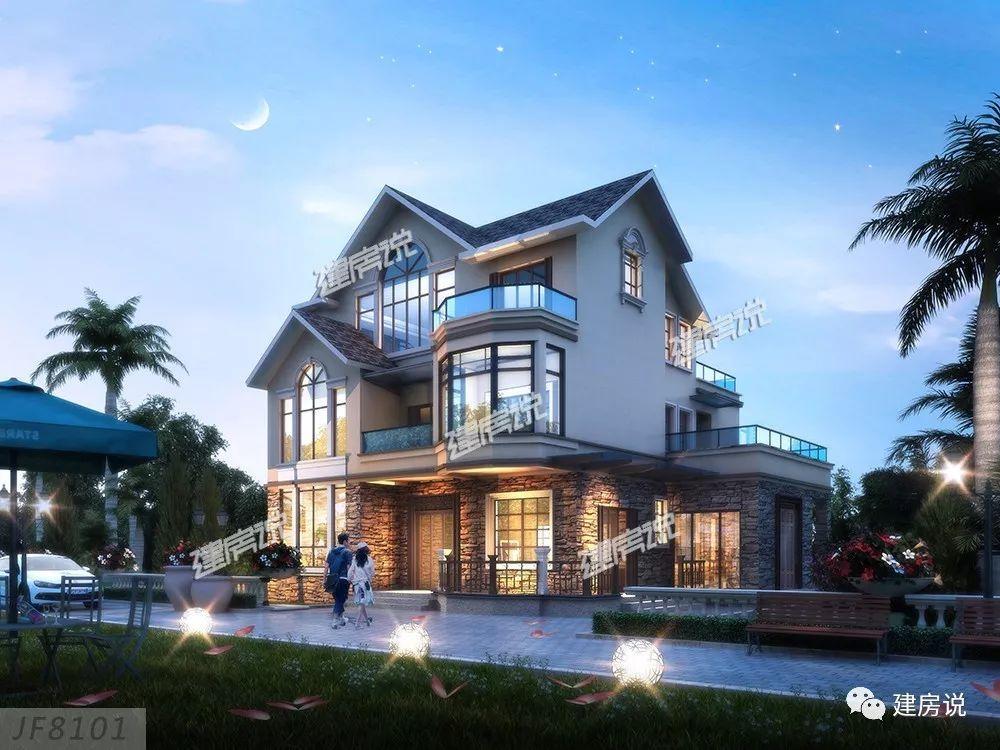 【效果图2】 米色真石漆和文化石外墙,让别墅更具时尚感,夜晚在灯光图片