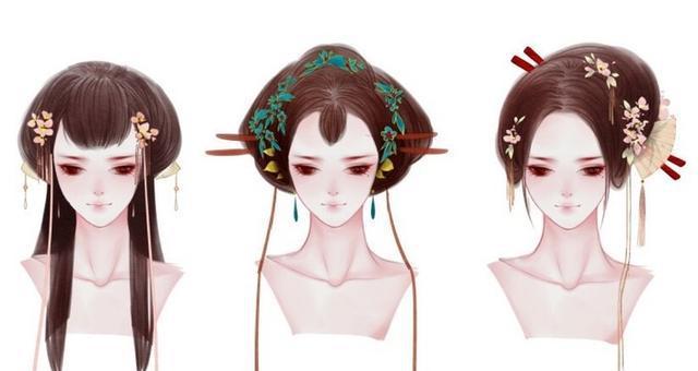 古风唯美女性的头饰以及发型绘画参考