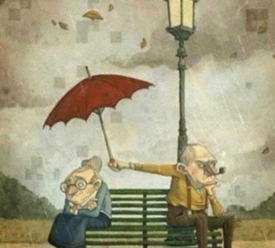 下雨了, 老爷爷这样为老奶奶打伞, 感动网友