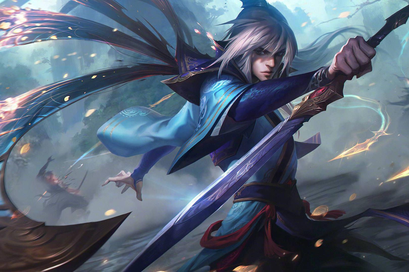 LOL:男刀女刀玉剑传说新皮肤特效曝光,万剑归宗御剑乘龙