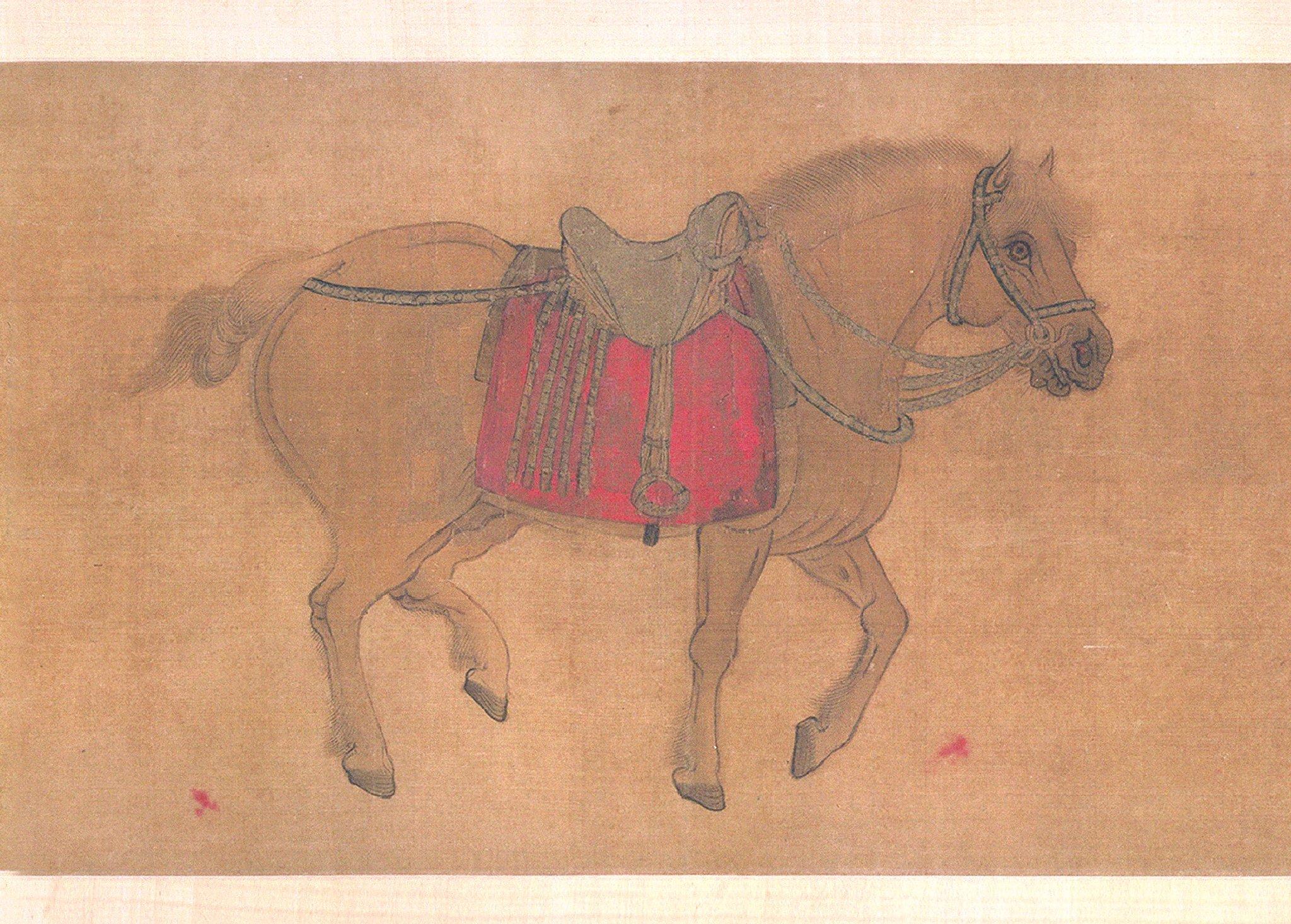 金 赵霖昭陵六骏图卷绢本27.4x444.2北京故宫图片