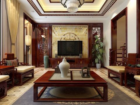 130㎡美式,客厅深蓝色的皮沙发,非常高档!图片