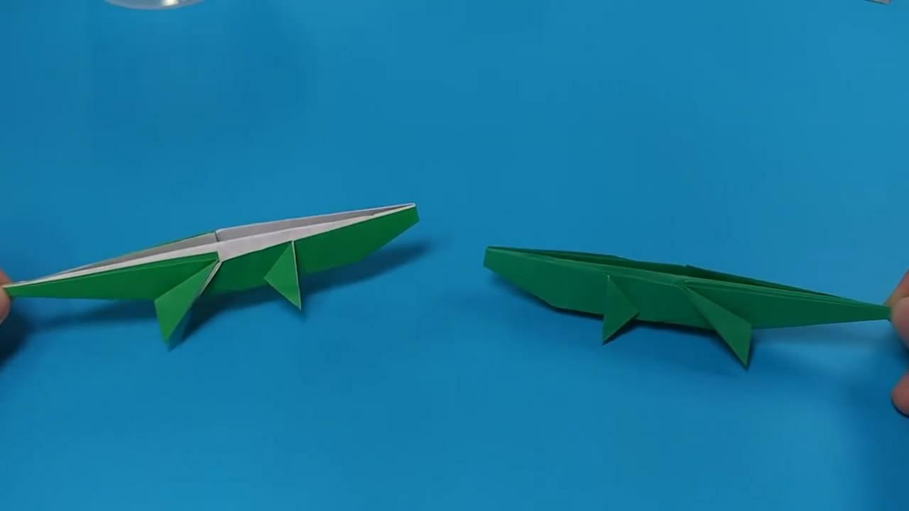儿童手工diy, 教大家折纸鳄鱼, 方法很简单, 孩子们都