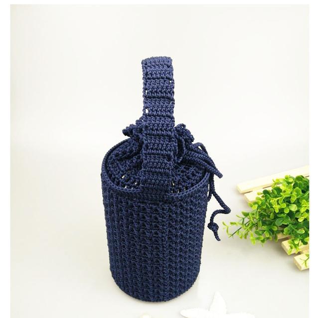 纯手工钩针编织~纯色闷烧杯保温杯套,可束口有手提带
