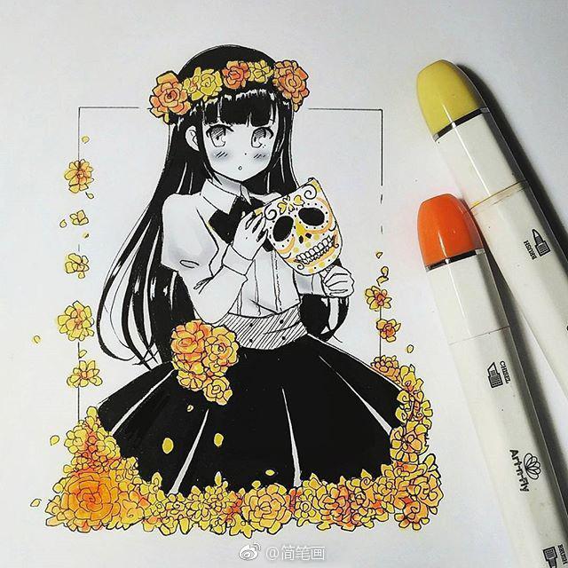 马克笔手绘动漫人物(ins:meiririh)