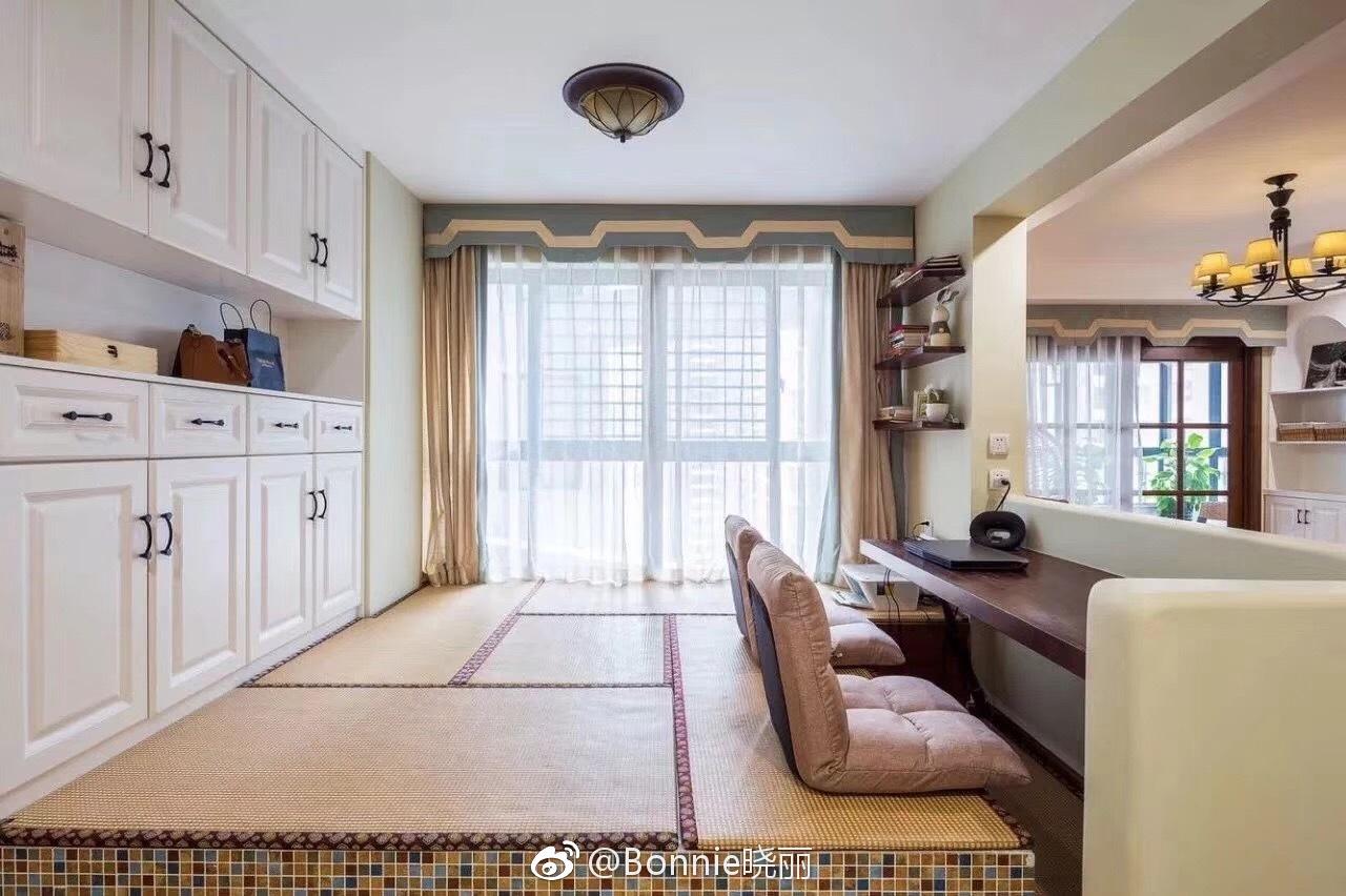 138㎡美式,客厅沙发矮墙后做休闲区,实用有档次哦图片