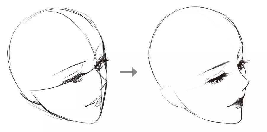 再根据大致位置,将眼睛画成半闭的状态,突出表现上眼皮和睫毛,左边的