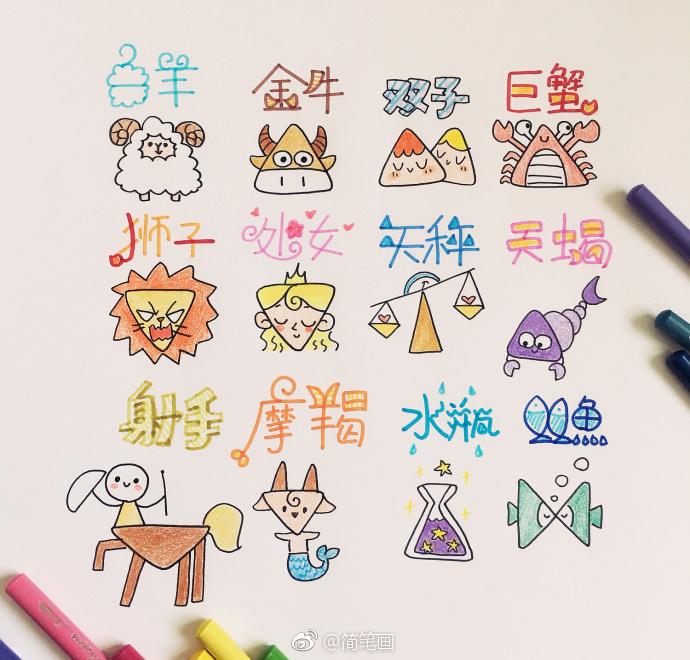 超可爱的萌物简笔画手帐素材(by: )