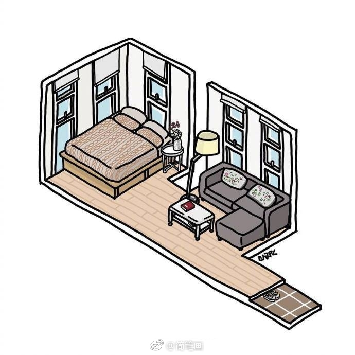 一组小公寓手绘图,你喜欢哪一间?_新浪看点
