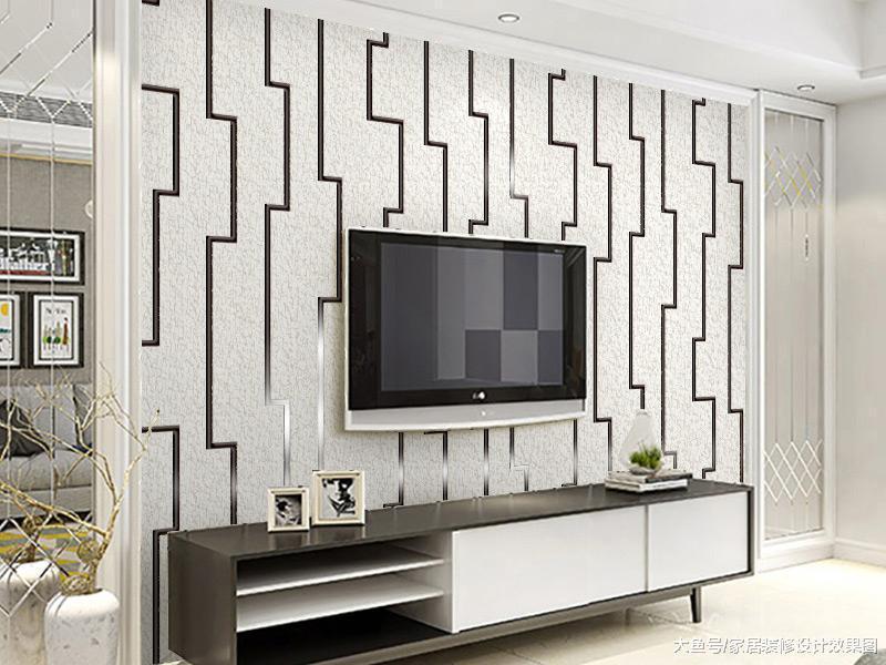 客厅电视背景墙壁纸装修效果图2018