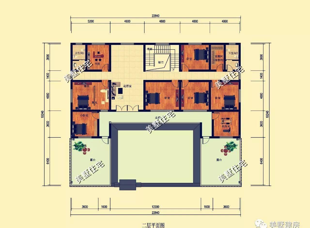 二层设有:2个大露台,娱乐室,套房,5卧室,衣帽间,2卫生间,起居室图片