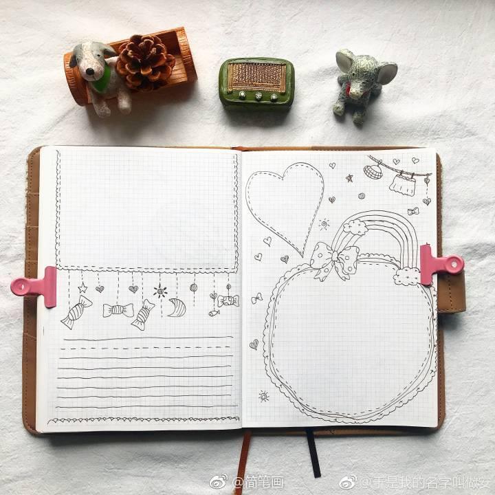 一组六月主题手绘手帐排版(投稿:@于是我的名字叫做安 )
